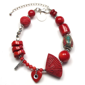 Red Coral Bracelet with Sterling Silver  Nepalese Bead and Cinnabar