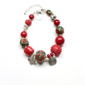 Red Coral Bracelet with Sterling Silver  Nepalese Beads and Cinnabar