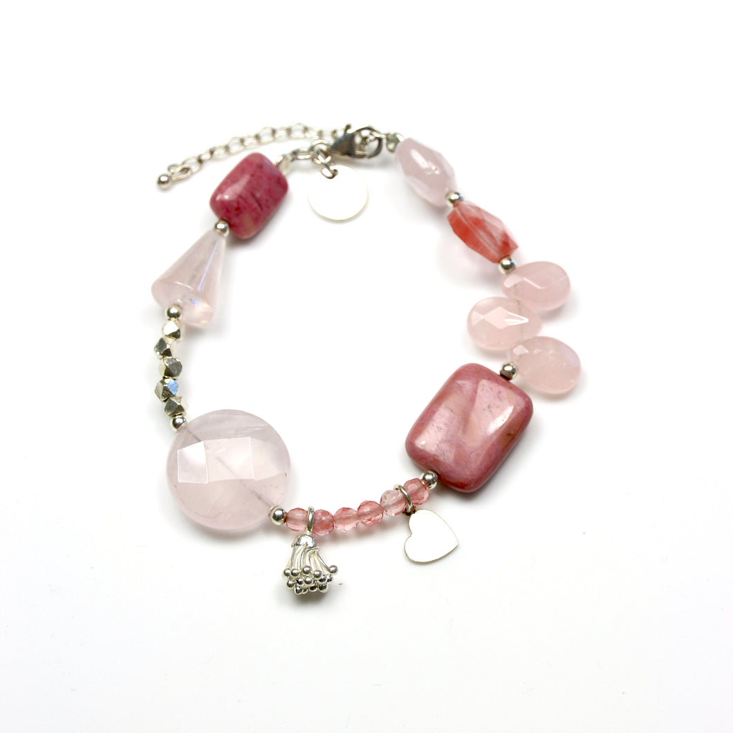 Pink Bracelet with Rose Quartz Rhodonite and Sterling Silver