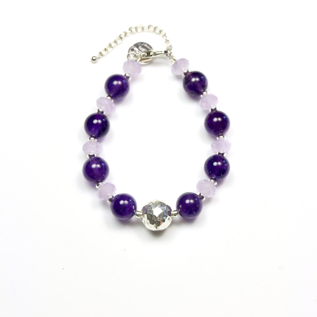 Purple Bracelet with Gemstones and Sterling Silver
