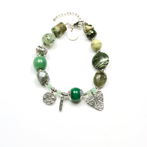 Green Bracelet with Gemstones Tibetan Bead and Sterling Silver