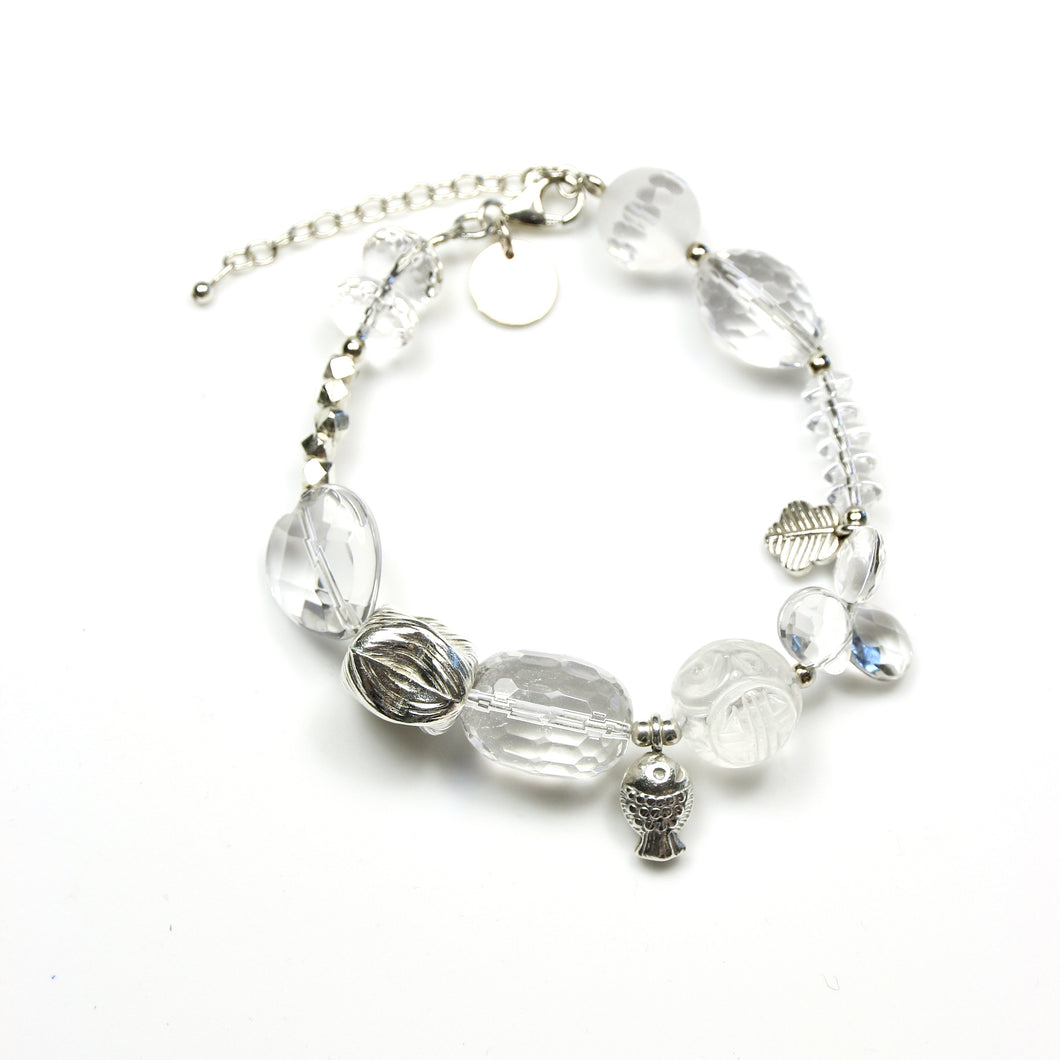Clear Crystal Quartz Bracelet with Sterling Silver