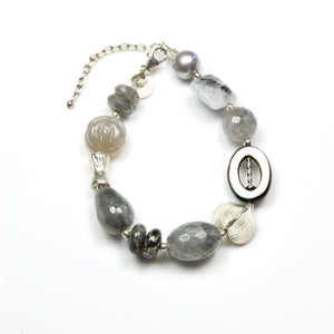 Grey Pearl Rutilated Quartz Mother of Pearl and Sterling Silver Bracelet
