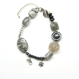 Grey Gemstone Pearl and Sterling Silver Bracelet