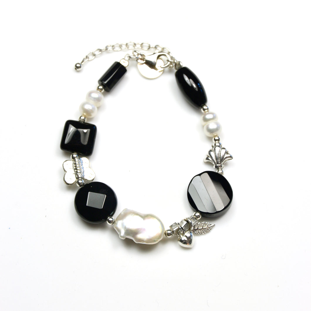 Black Bracelet with Onyx Pearls and Sterling Silver