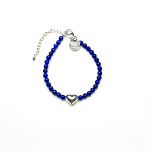 Blue Lapis Lazuli Bracelet with Sterling Silver Heart