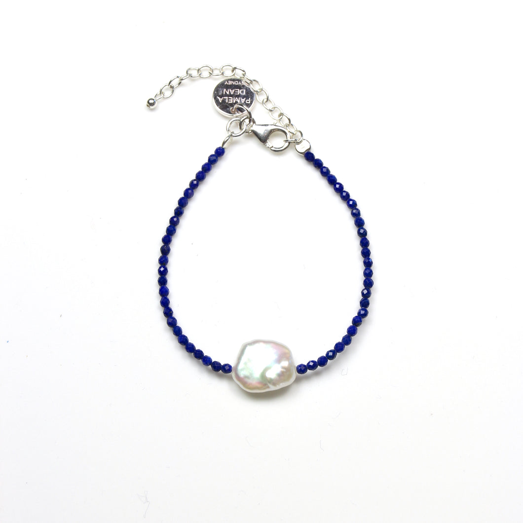 Blue Facetted Lapis Lazuli Bracelet with Baroque Pearl and Sterling Silver