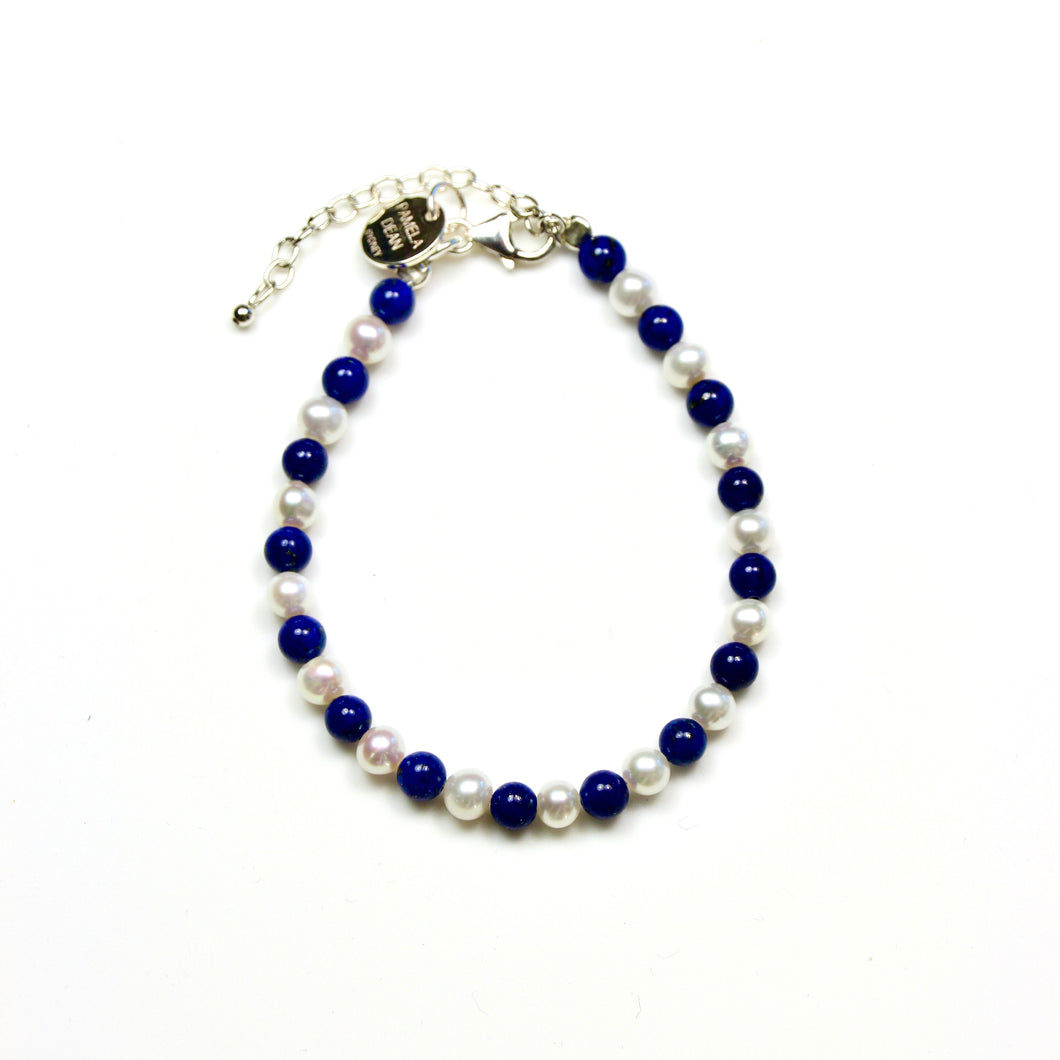 Blue Lapis Lazuli Bracelet with Pearls and Sterling Silver