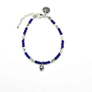 Blue Lapis Lazuli Sterling Silver Beads and Sterling Silver Heart Pendant