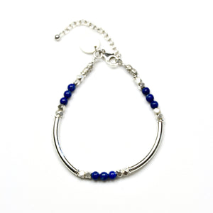 Blue Lapis Lazuli Bracelet with Assorted Sterling Silver Beads