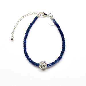 Blue Facetted Sapphire Beads and Sterling Silver Bead Centrepiece