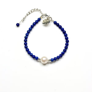Blue Lapis Lazuli Bracelet with Sterling Silver and Pearl Centrepiece