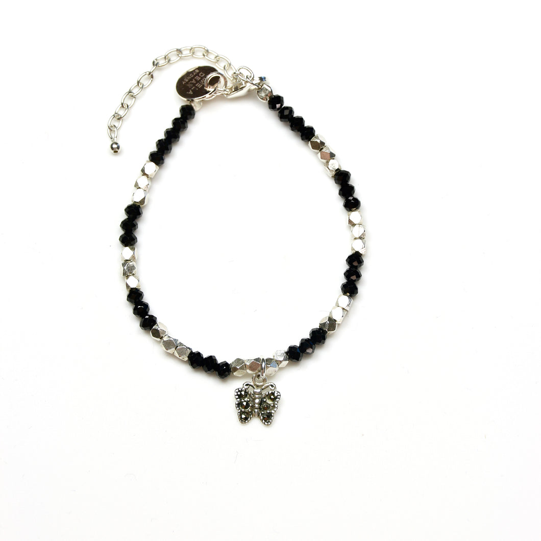Black Spinel Bracelet with Marcasite Butterfly and Sterling Silver Beads