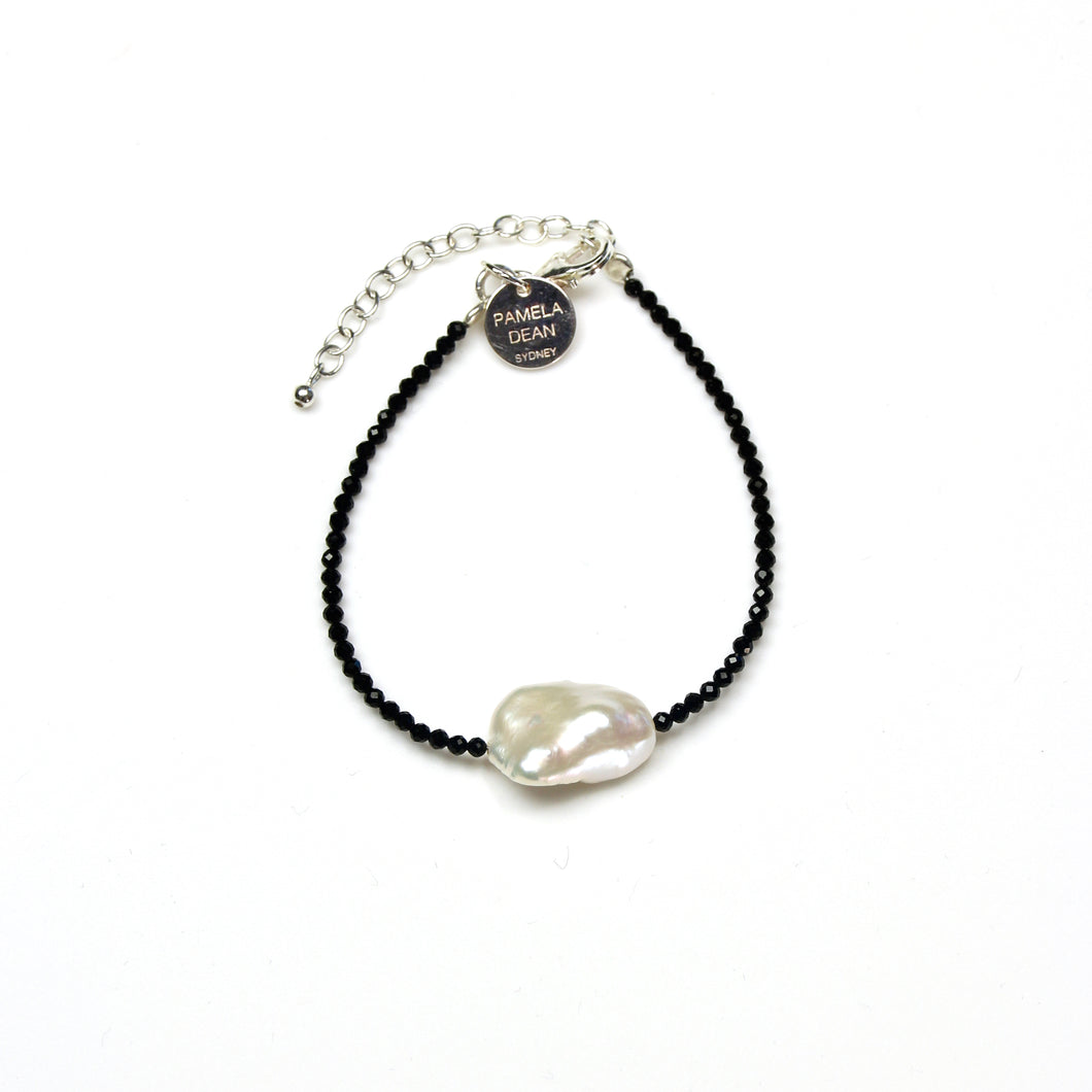 Black Spinel Baroque Pearl and Sterling Silver Bracelet