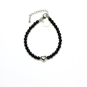 Black Onyx Bracelet with Sterling Silver Heart