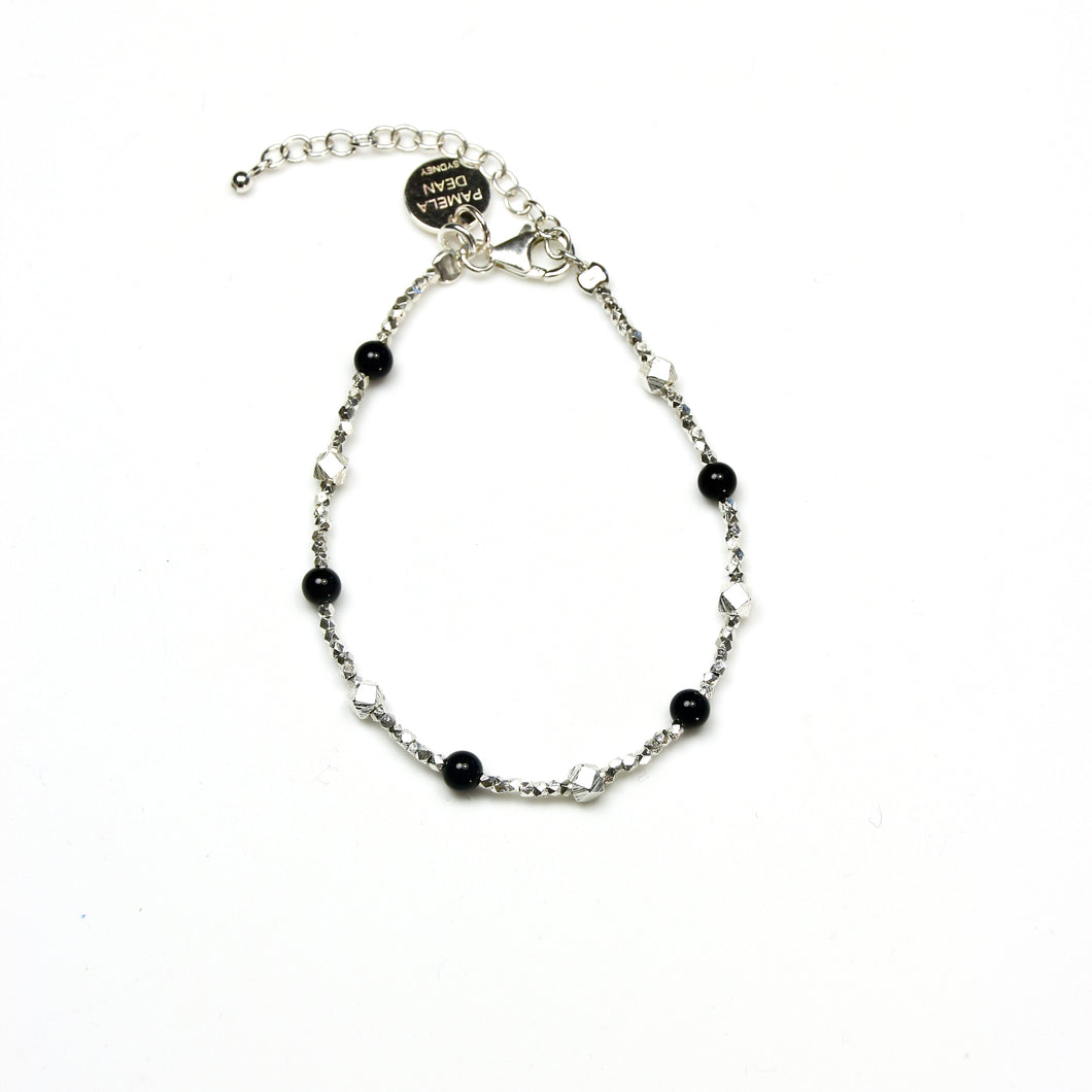 Black Onyx Bracelet and Sterling Silver Beads