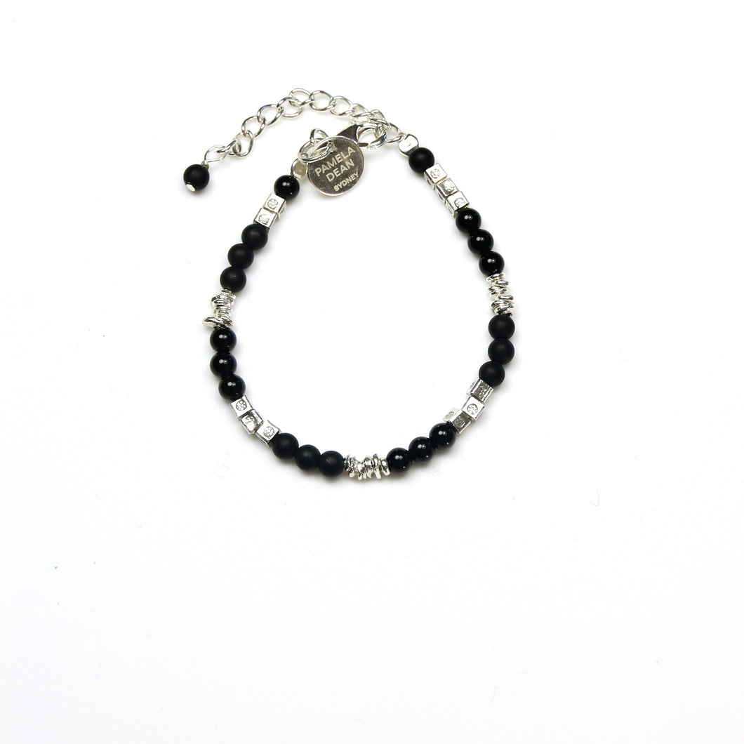 Black Matt Black Jade Onyx  Beads and Sterling Silver Bracelet