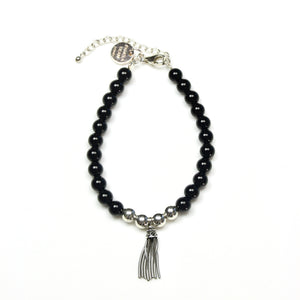 Black Onyx Bracelet with Sterling Silver Beads and Tassel