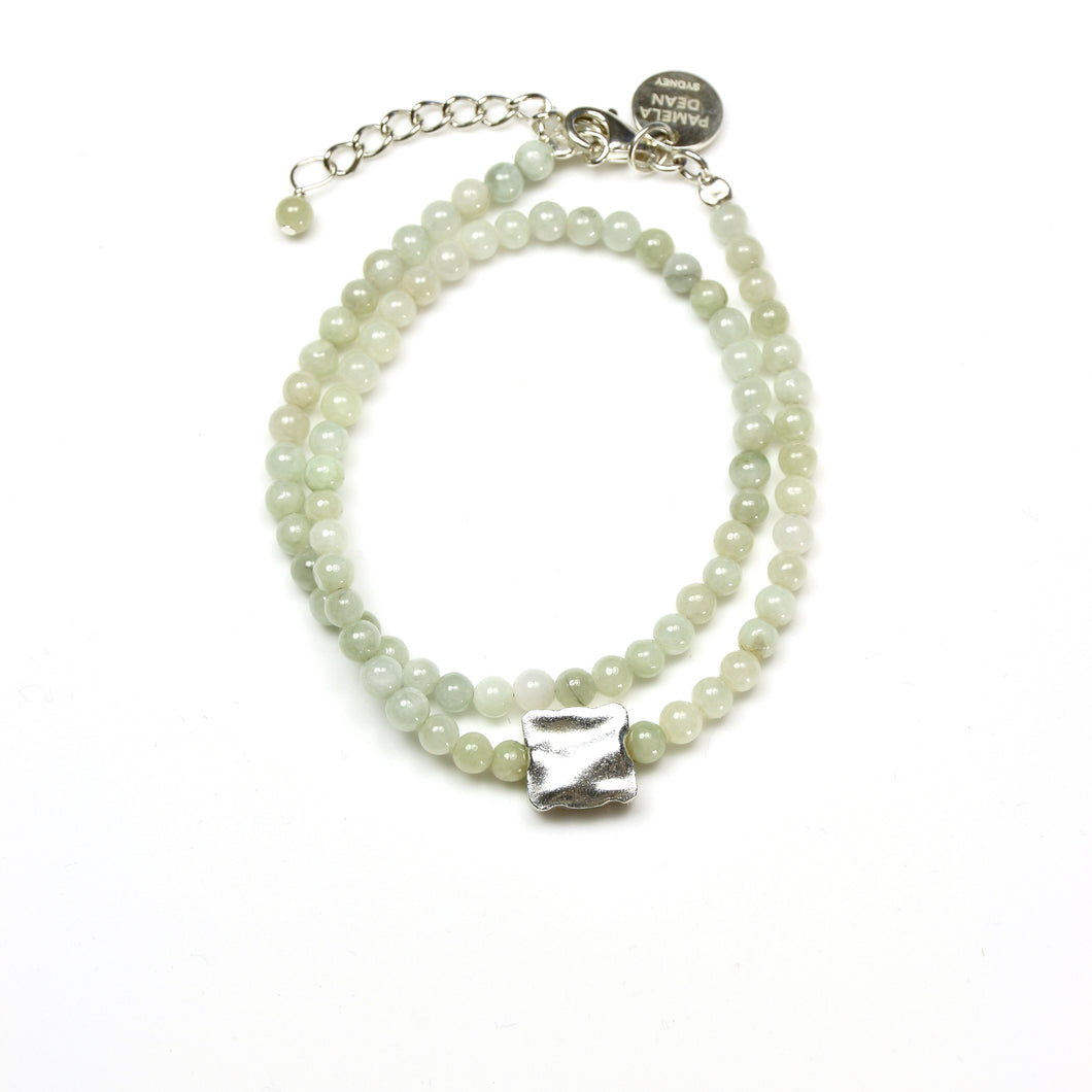 Green Double Wrap Bracelet with Burma Jade and Sterling Silver