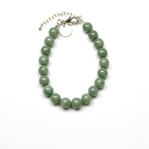 Green Burma Jade Bracelet and Sterling Silver