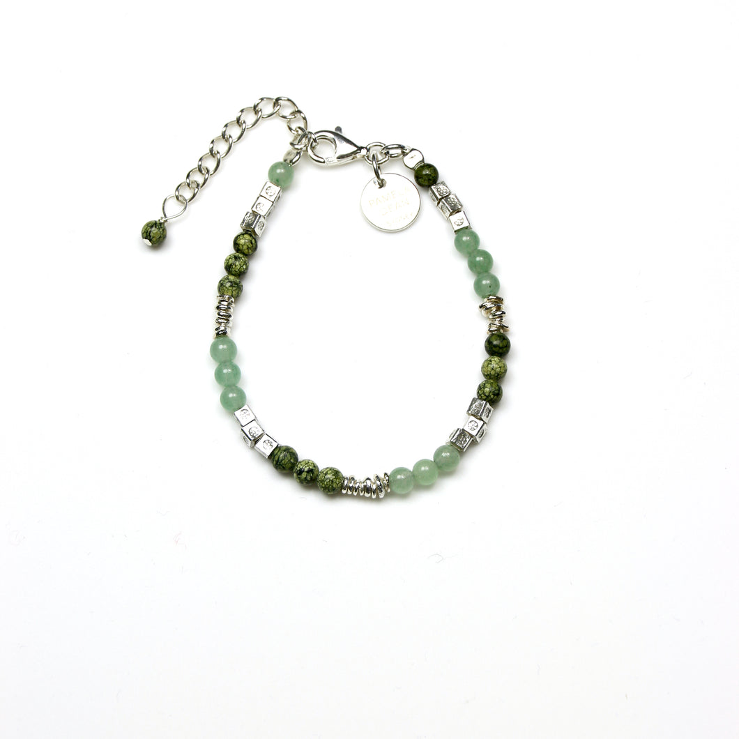 Green Jasper Aventurine and Sterling Silver Beads