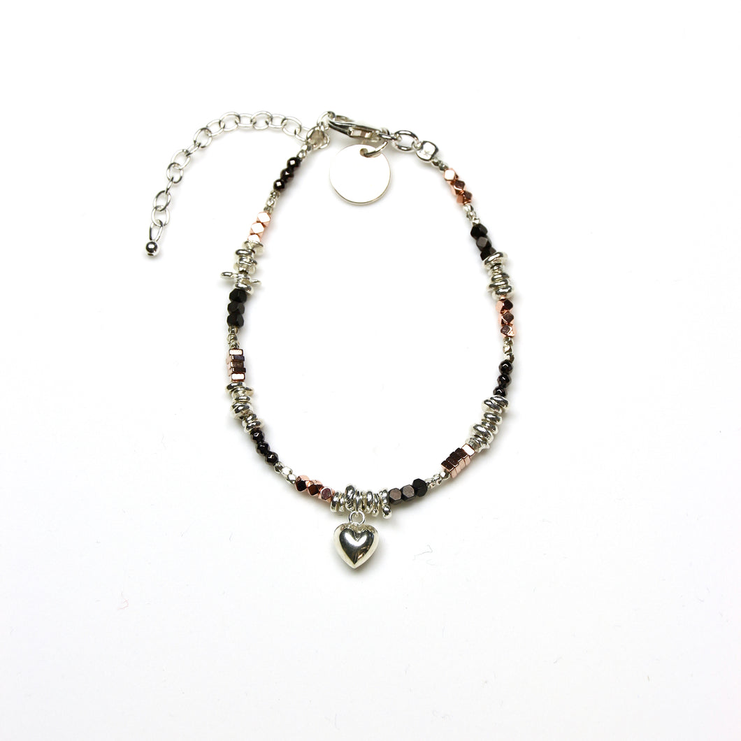Brown Bracelet with Coloured Pyorite Various Shape Sterling Silver Beads and Heart Charm