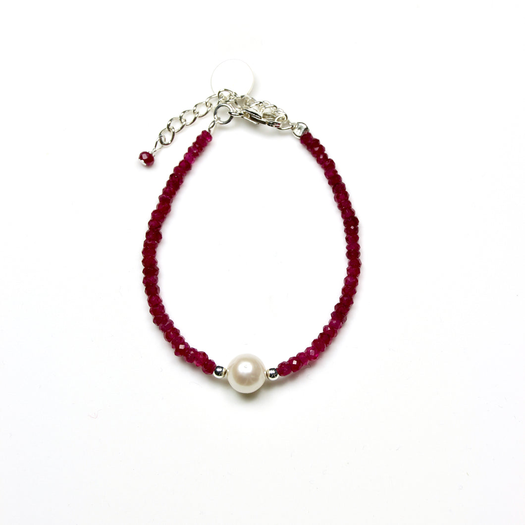 Pink Bracelet with Facetted Indian Ruby Pearl and Sterling Silver