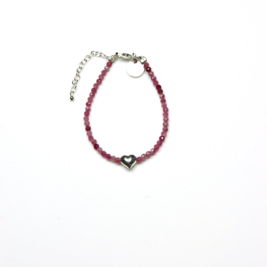 Pink Bracelet with Pink Tourmaline and Sterling Silver Heart