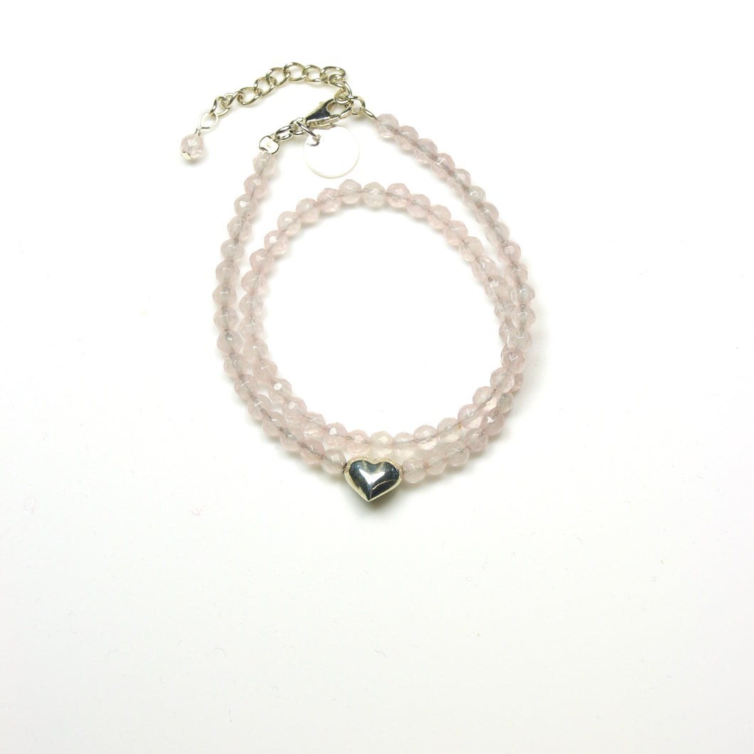 Pink Bracelet with Facetted Rose Quartz Double Wrap with Sterling Silver Heart