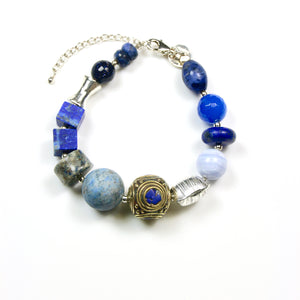 Blue Bracelet with Gemstones Nepalese Bead and Sterling Silver