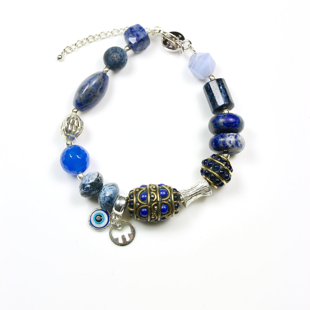 Blue Lapis Lazuli Bracelet Dumortierite Nepalese Beads and Sterling Silver