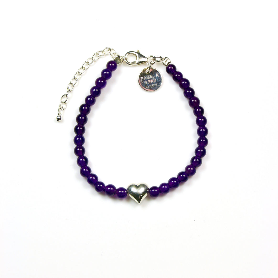 Purple Bracelet with Amethyst and Sterling Silver Heart