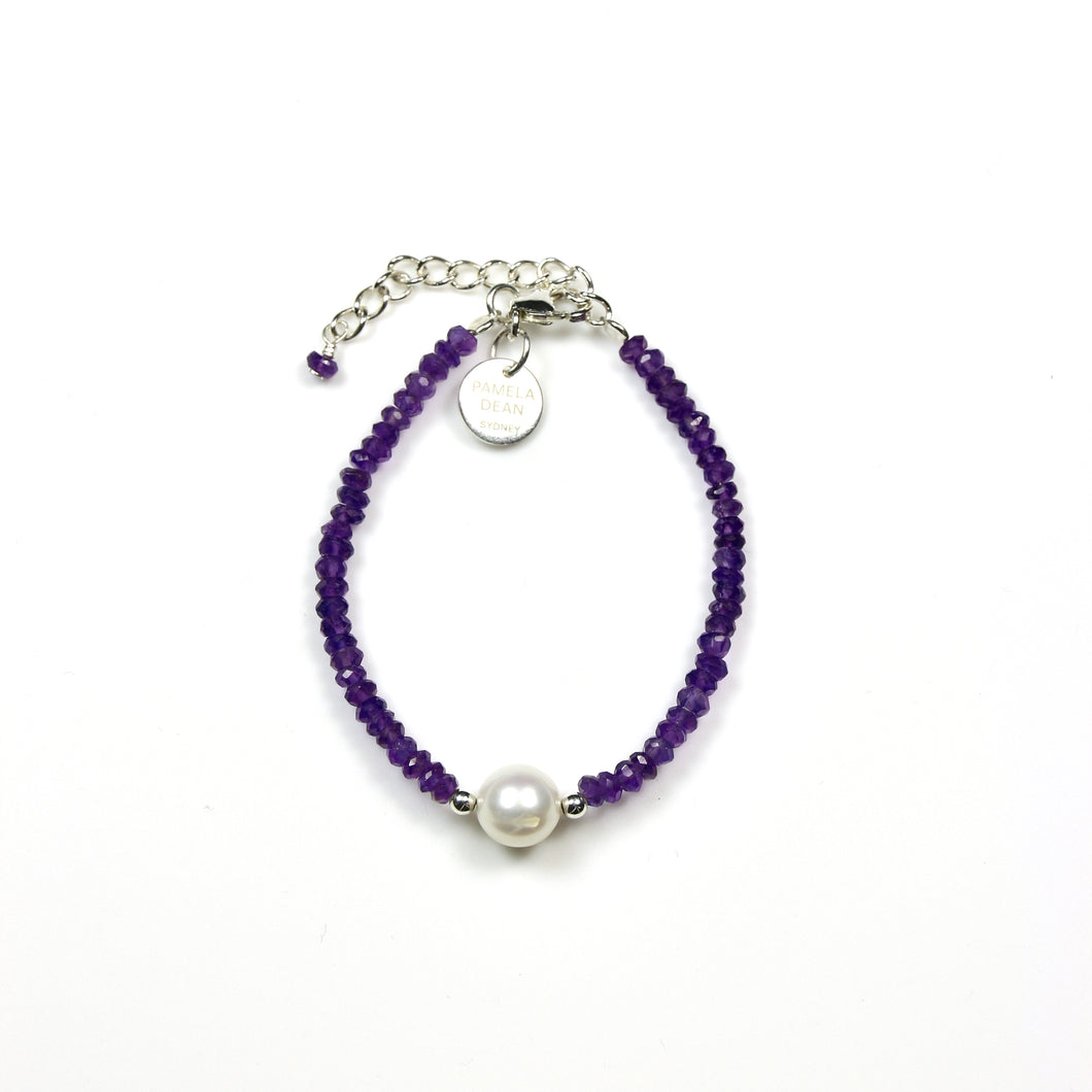 Purple Bracelet with Facetted Amethyst Pearl and Sterling Silver