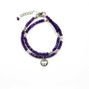 Purple Double Wrap Facetted Amethyst with Sterling Silver Beads and Bow Charm