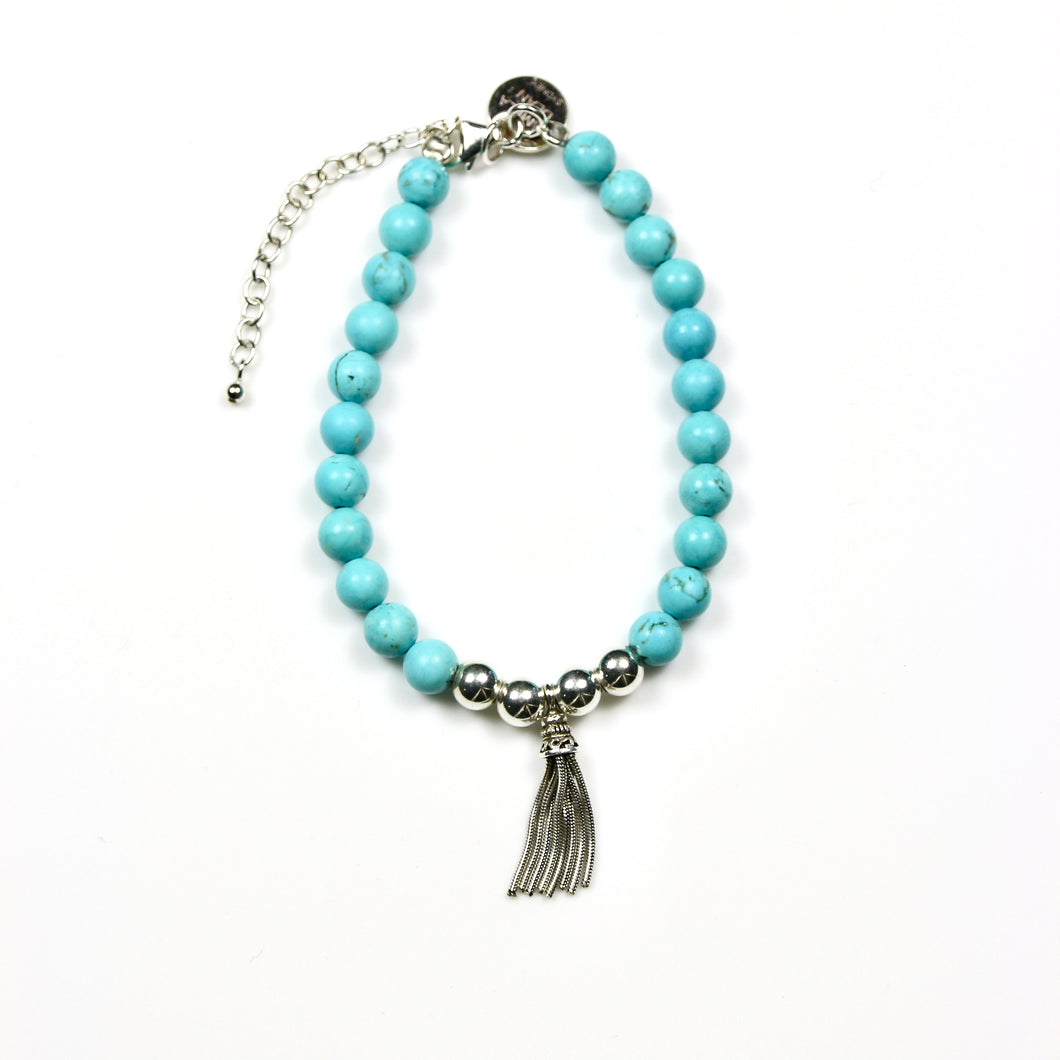 Turquoise Colour Howlite with Sterling Silver Beads and Tassel