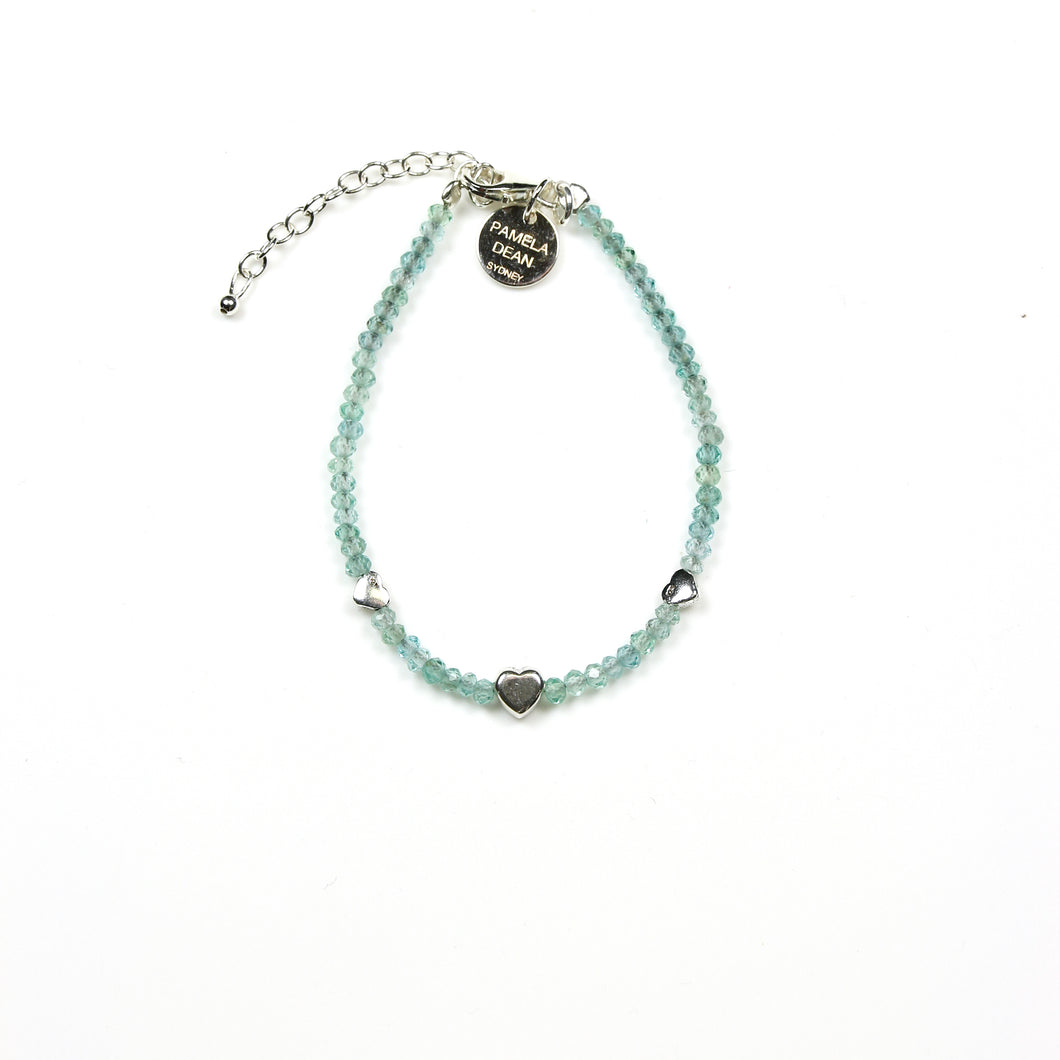 Turquoise Colour Apetite Gemstone and Sterling Silver Heart Bracelet