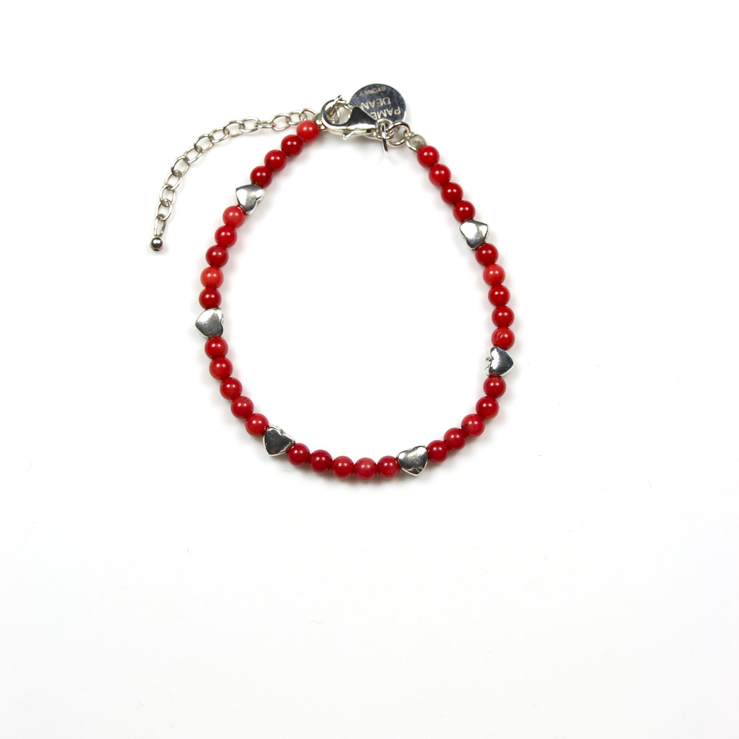 Red Coral Bracelet and Sterling Silver Hearts
