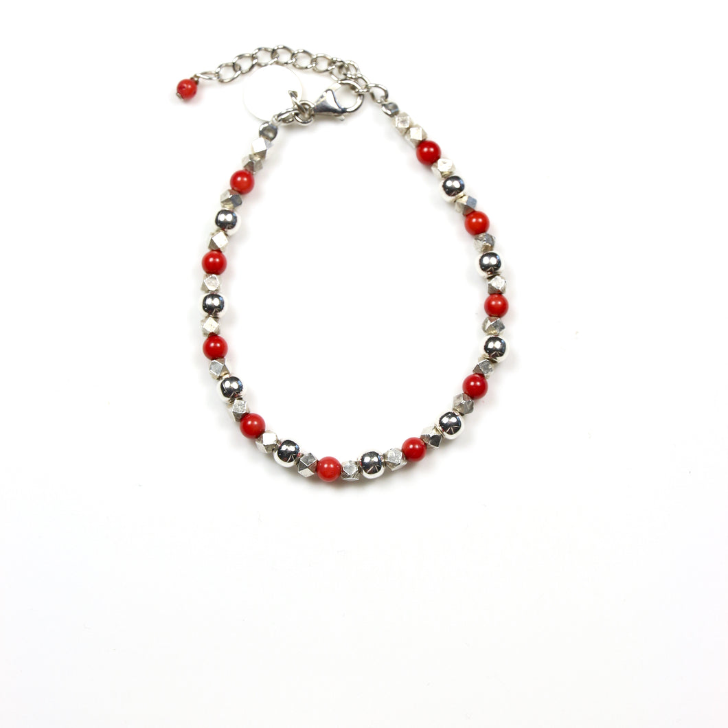 Red Coral Bracelet with Various Shape Sterling Silver Beads