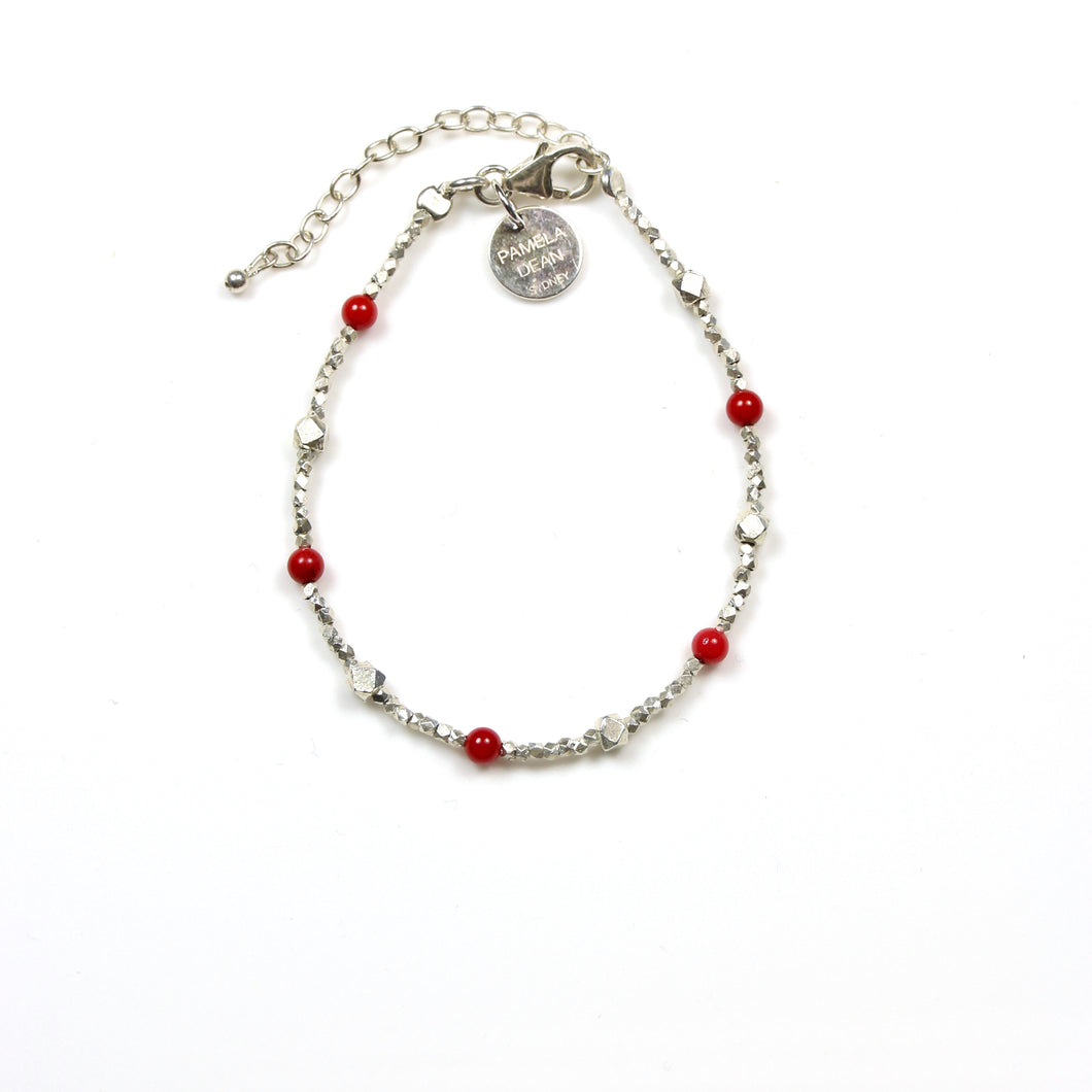 Red Coral Bracelet with Assorted Sterling Silver Beads