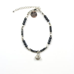 Grey Bracelet with Assorted Hematite Beads and Sterling Silver Tassel