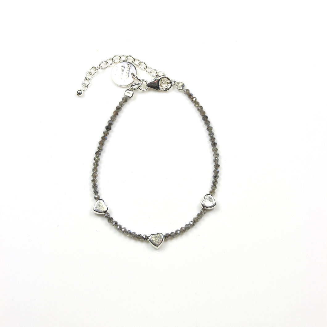 Grey Facetted Labradorite and Sterling Silver Heart Bracelet