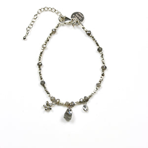 Grey Labradorite Bracelet Sterling Silver Beads with 3 Charms
