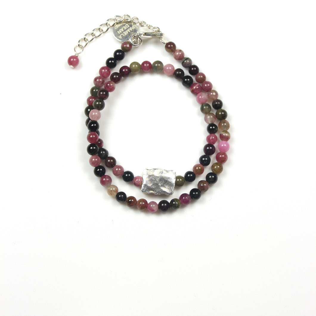 Pink Multi Colour Tourmaline Bracelet and Sterling Silver