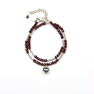 Red Double Wrap Facetted Garnet with Sterling Silver Beads and Heart Charm