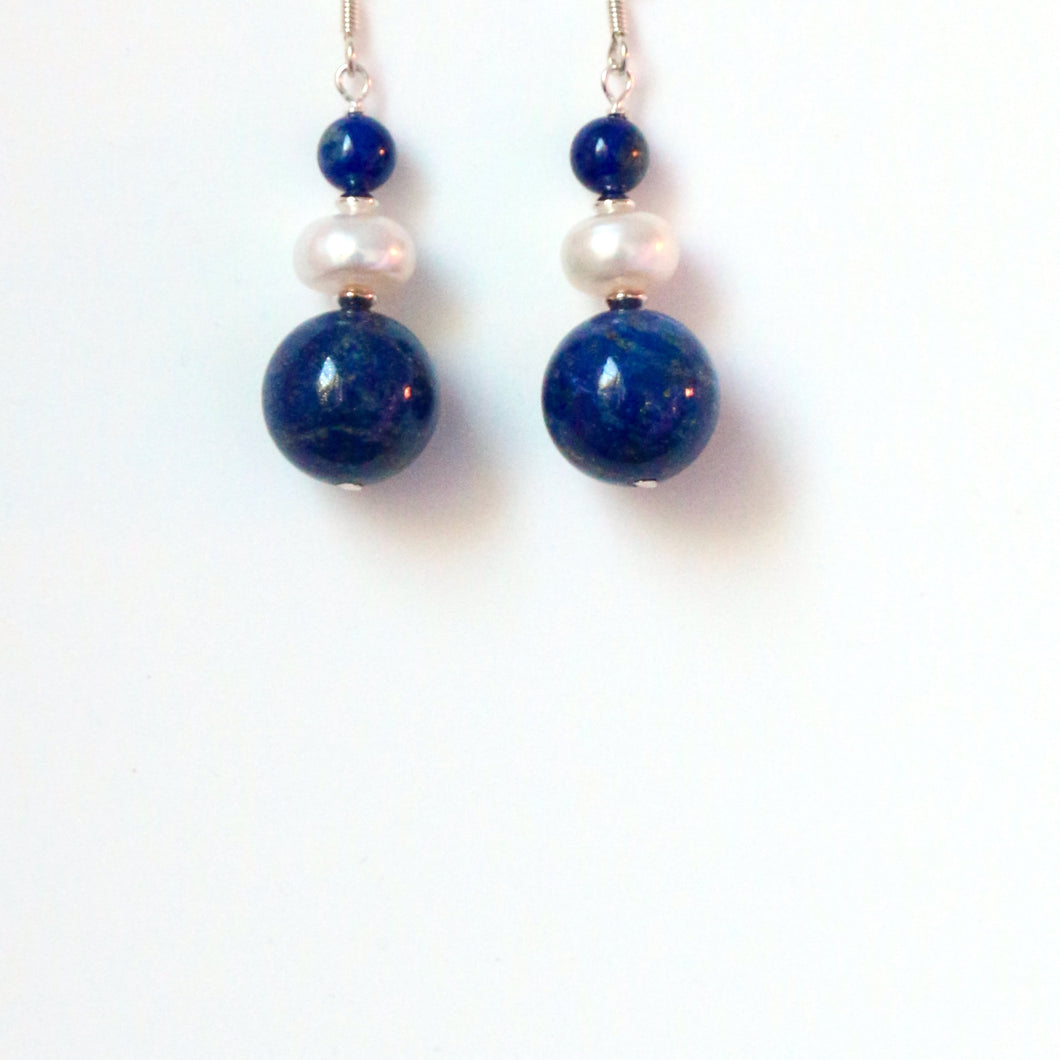 Blue Lapis Lazuli Round Beads Pearl and Sterling Silver Earrings