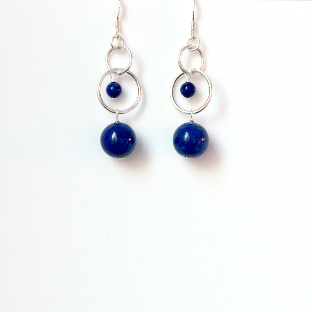 Blue Lapis Lazuli with Sterling Silver Hooped Chain Earrings