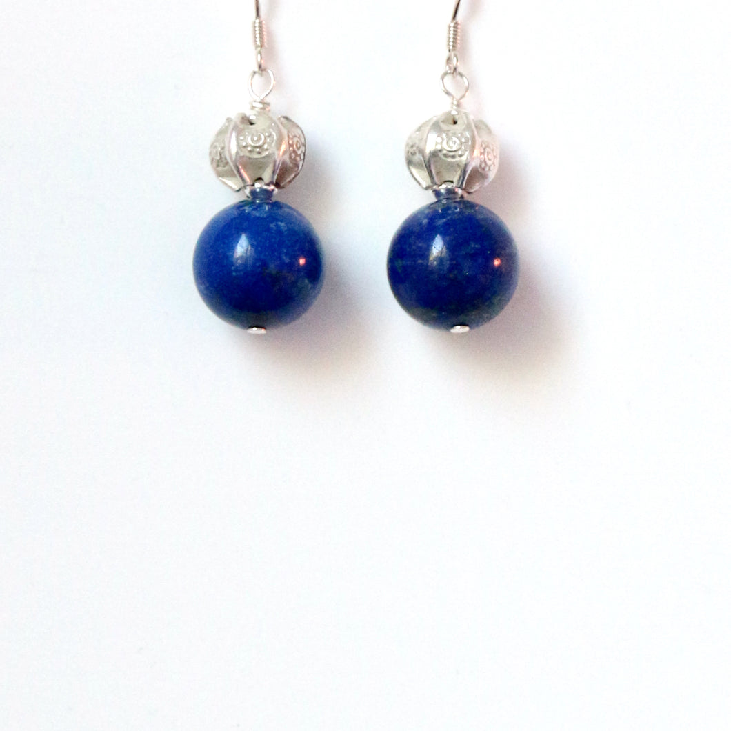 Blue Lapis Lazuli with Sterling Silver Bead Earrings