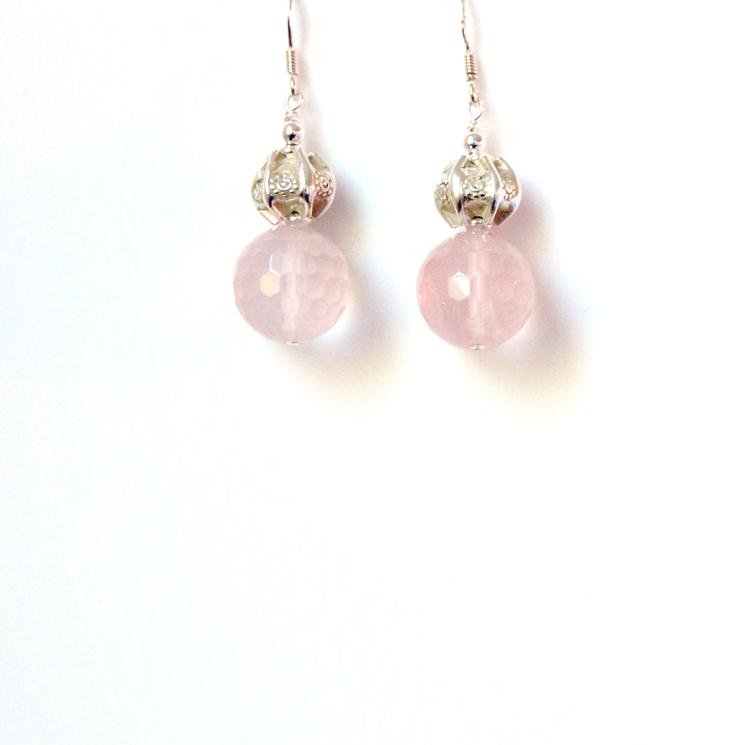 Pink Rose Quartz  Bead with Decorative Sterling Silver Earrings