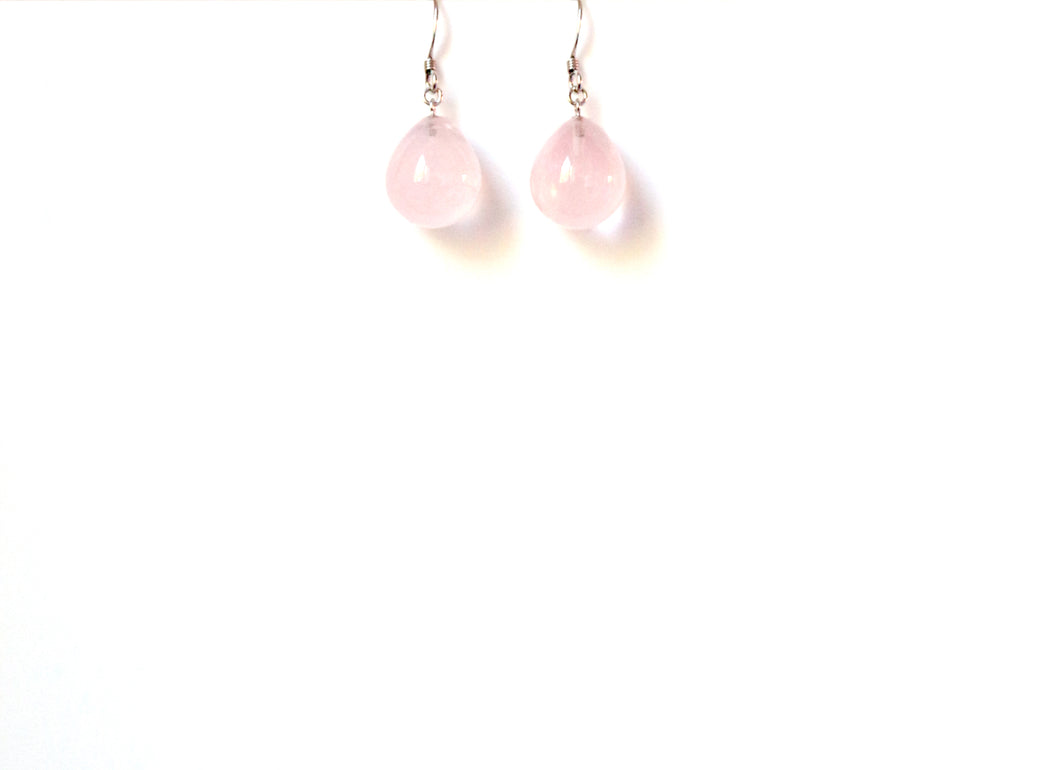 Pink Rose Quartz Teardrop and Sterling Silver Earrings