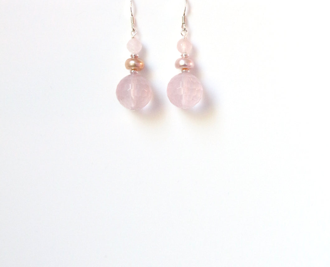 Pink Rose Quartz Facetted Beads with Pearl and Sterling Silver Earrings
